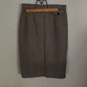 Vintage-Houndstooth 100% Virgin Wool Pencil Skirt